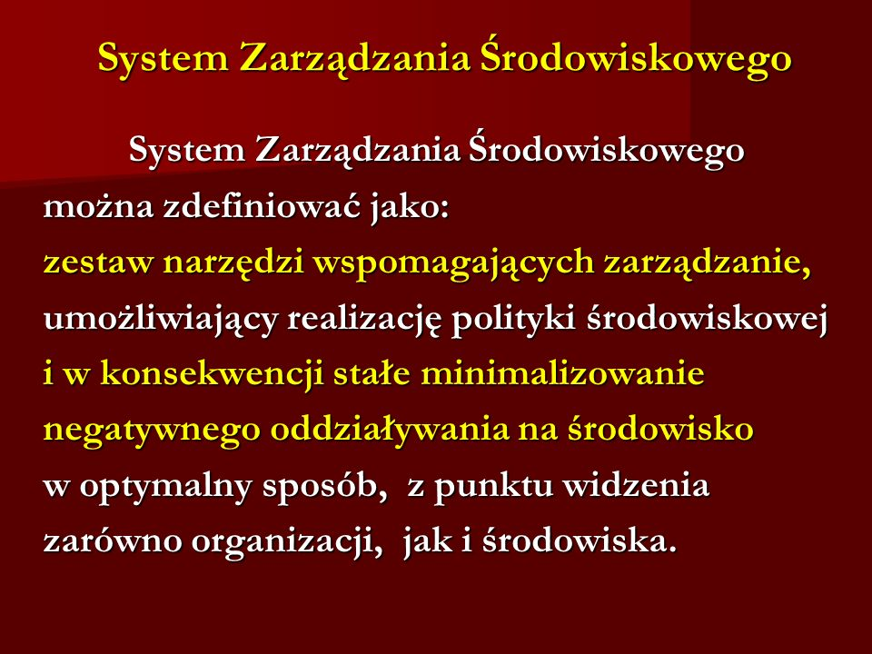 System Zarządzania Środowiskowego