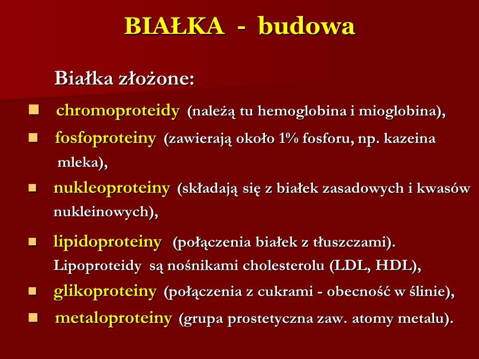 BIAŁKA - budowa Białka złożone: