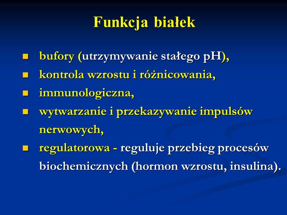 Funkcja białek bufory (utrzymywanie stałego pH),