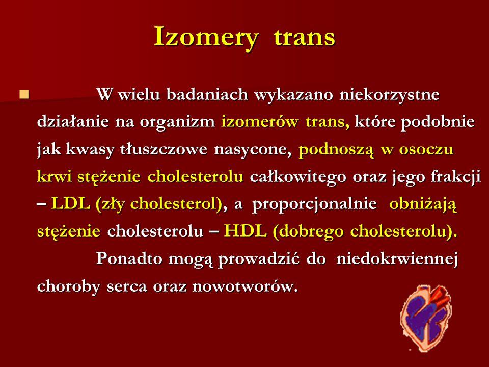 Izomery trans W wielu badaniach wykazano niekorzystne
