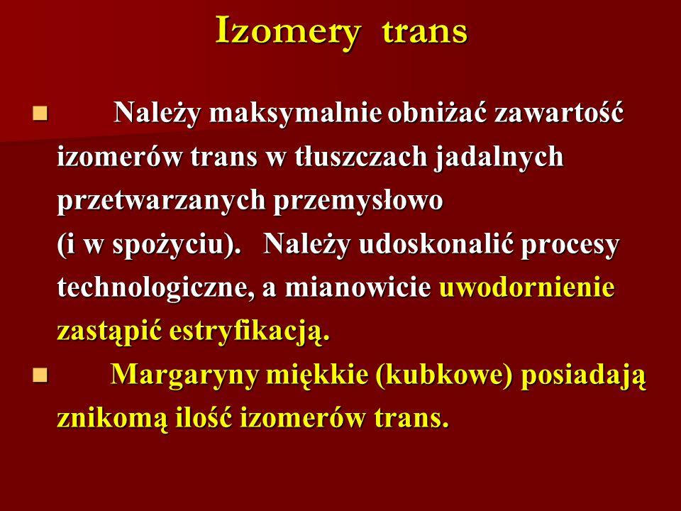Izomery trans Należy maksymalnie obniżać zawartość
