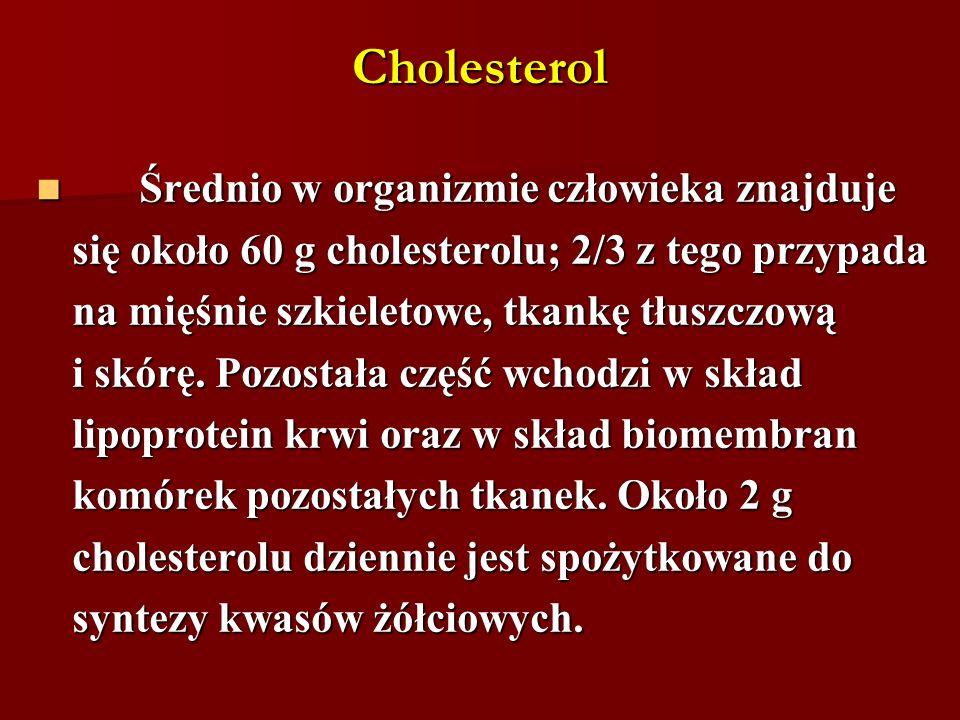 Cholesterol Średnio w organizmie człowieka znajduje