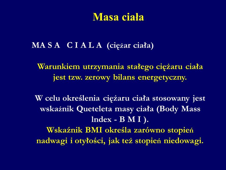 Masa ciała MA S A C I A L A (ciężar ciała)