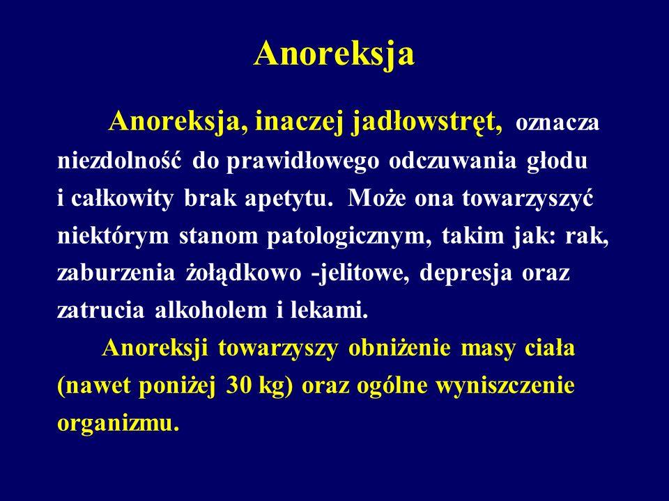 Anoreksja Anoreksja, inaczej jadłowstręt, oznacza