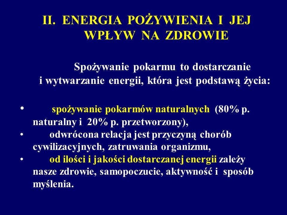 II. ENERGIA POŻYWIENIA I JEJ WPŁYW NA ZDROWIE