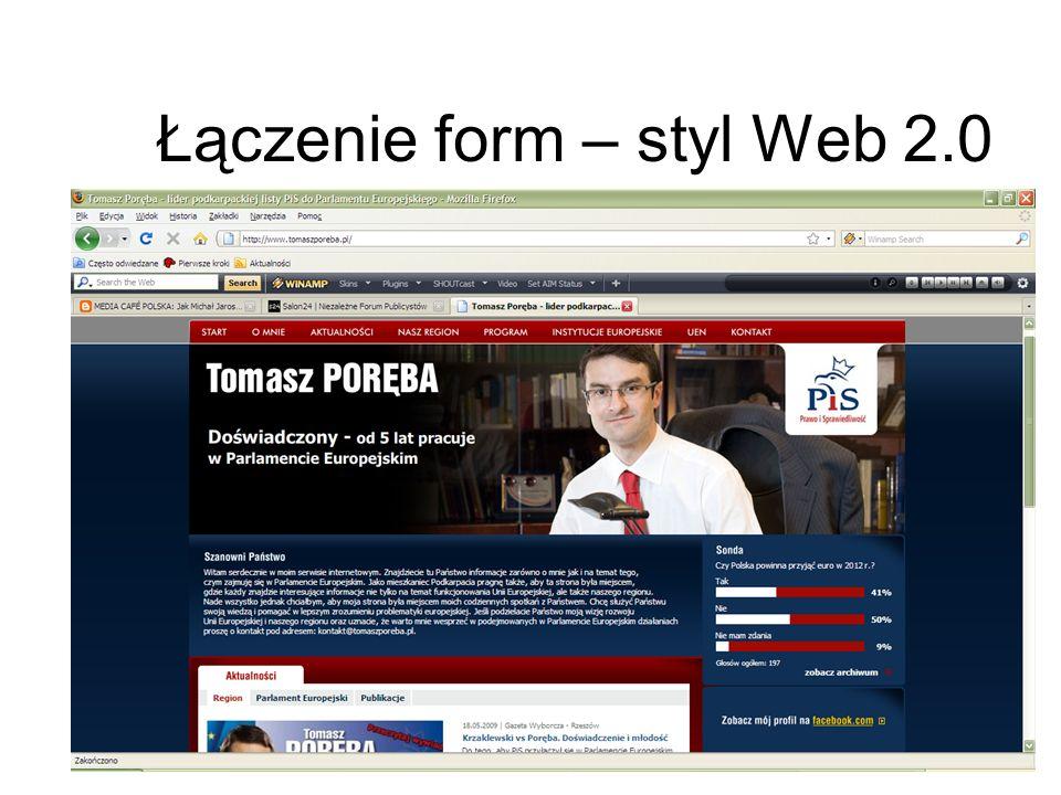 Łączenie form – styl Web 2.0