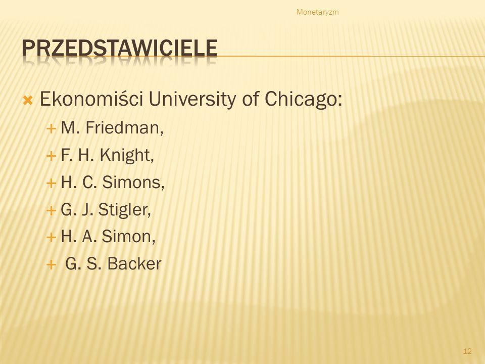Przedstawiciele Ekonomiści University of Chicago: M. Friedman,