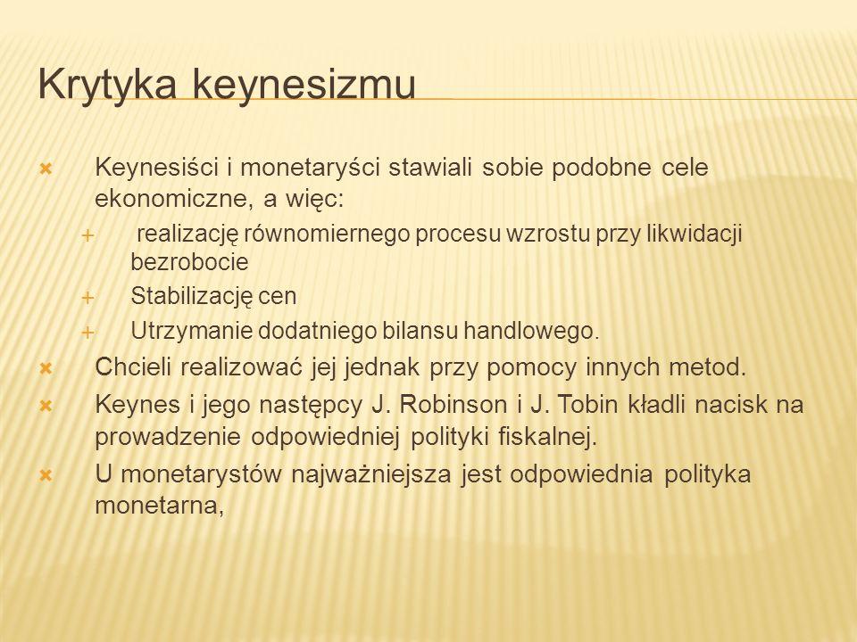 Krytyka keynesizmu Keynesiści i monetaryści stawiali sobie podobne cele ekonomiczne, a więc: