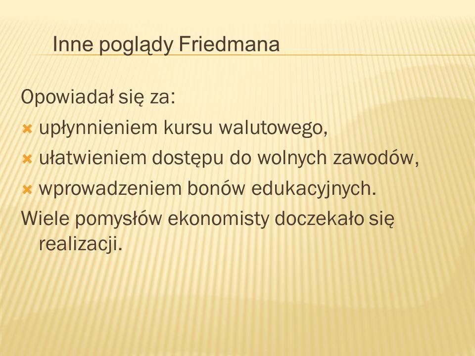Inne poglądy Friedmana