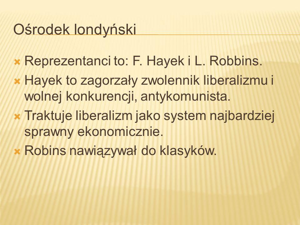 Ośrodek londyński Reprezentanci to: F. Hayek i L. Robbins.