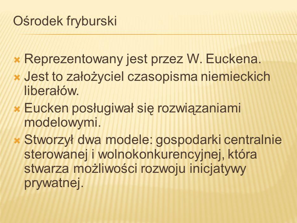 Ośrodek fryburski Reprezentowany jest przez W. Euckena. Jest to założyciel czasopisma niemieckich liberałów.
