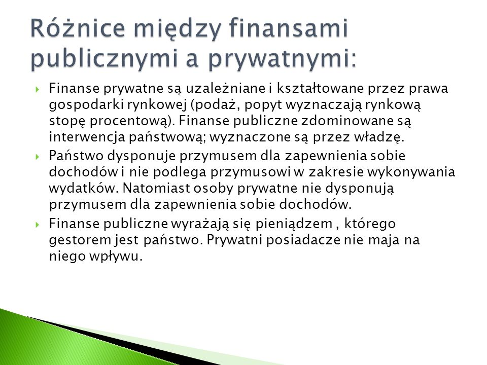 Różnice między finansami publicznymi a prywatnymi: