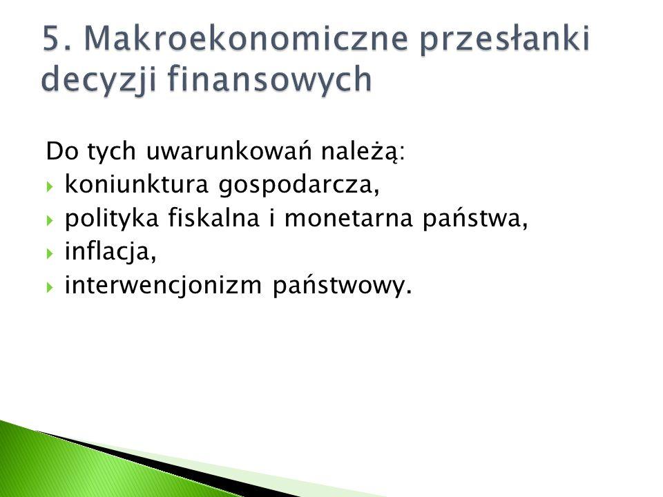 5. Makroekonomiczne przesłanki decyzji finansowych
