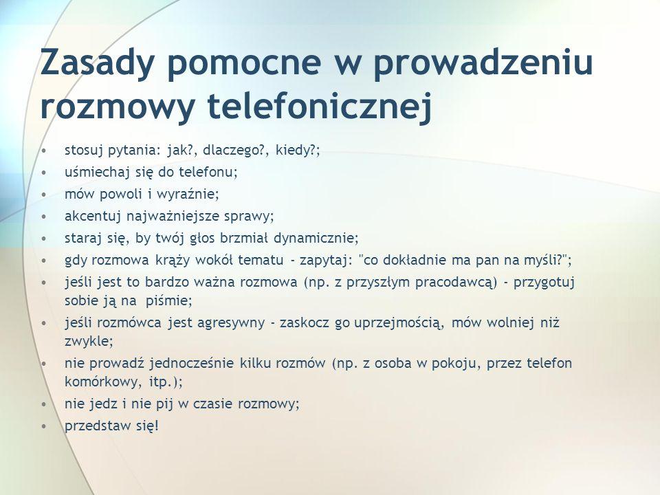 Zasady pomocne w prowadzeniu rozmowy telefonicznej
