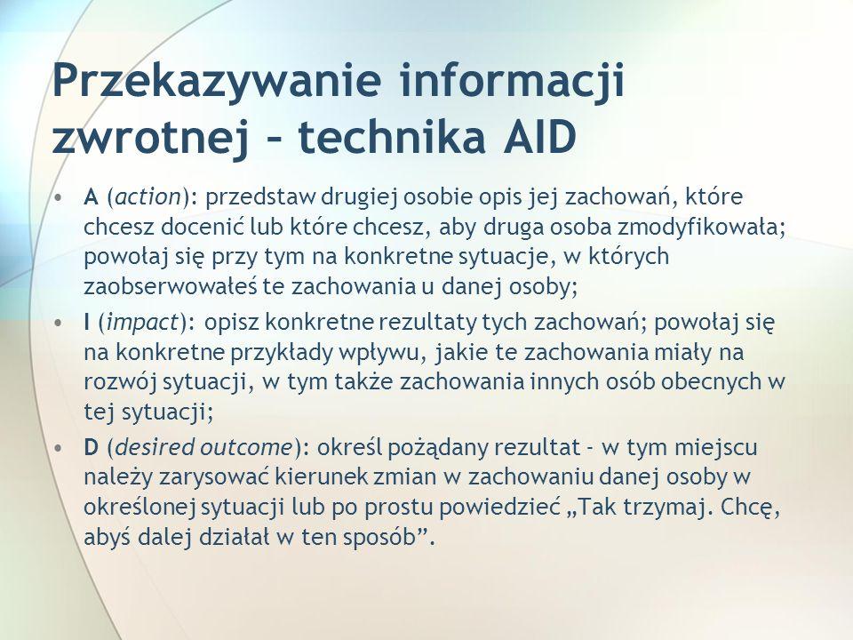 Przekazywanie informacji zwrotnej – technika AID