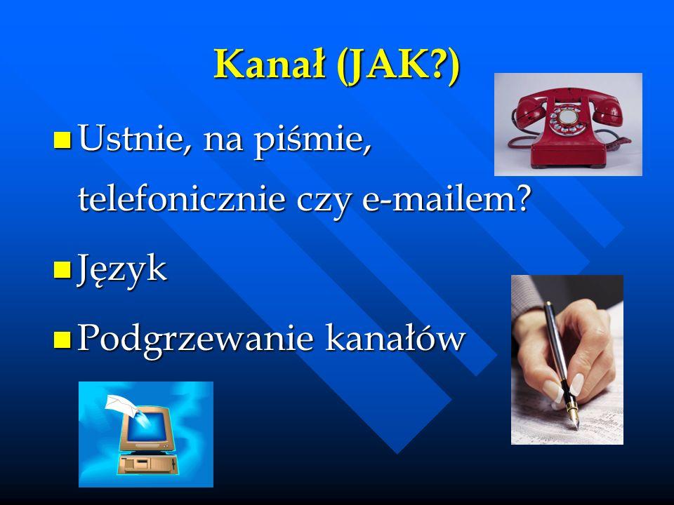 Kanał (JAK ) Ustnie, na piśmie, telefonicznie czy e-mailem Język