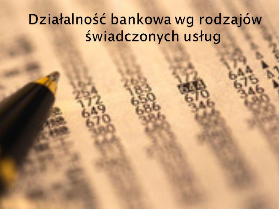 Działalność bankowa wg rodzajów świadczonych usług