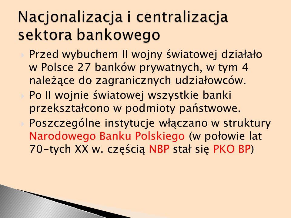 Nacjonalizacja i centralizacja sektora bankowego