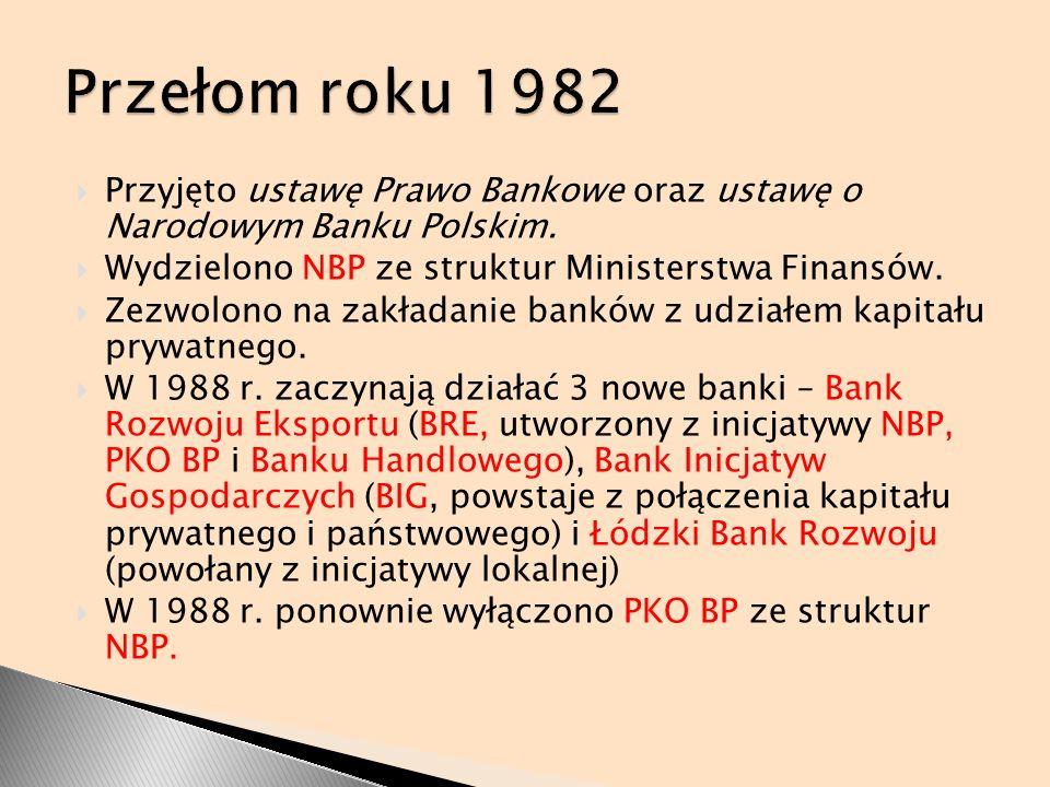 Przełom roku 1982 Przyjęto ustawę Prawo Bankowe oraz ustawę o Narodowym Banku Polskim. Wydzielono NBP ze struktur Ministerstwa Finansów.