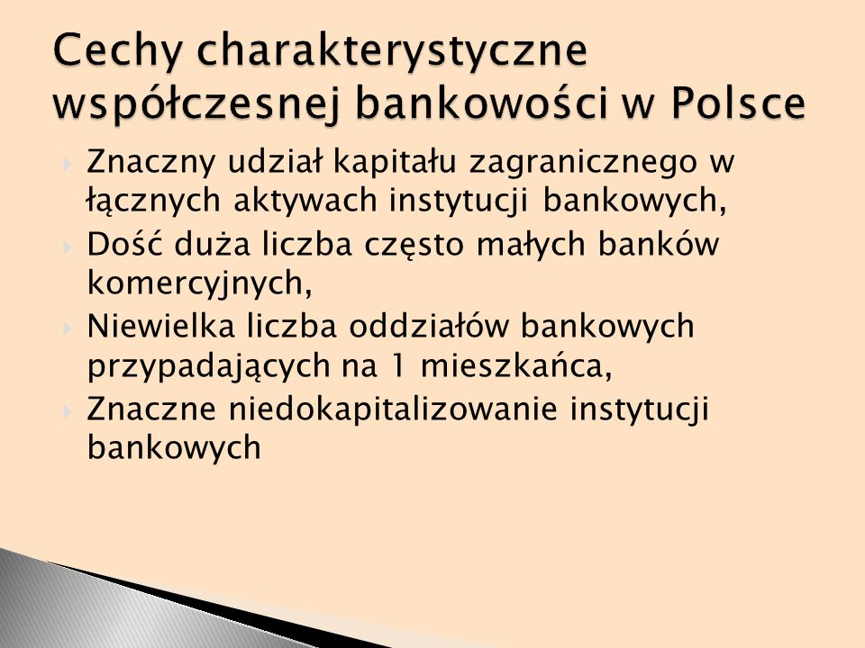 Cechy charakterystyczne współczesnej bankowości w Polsce