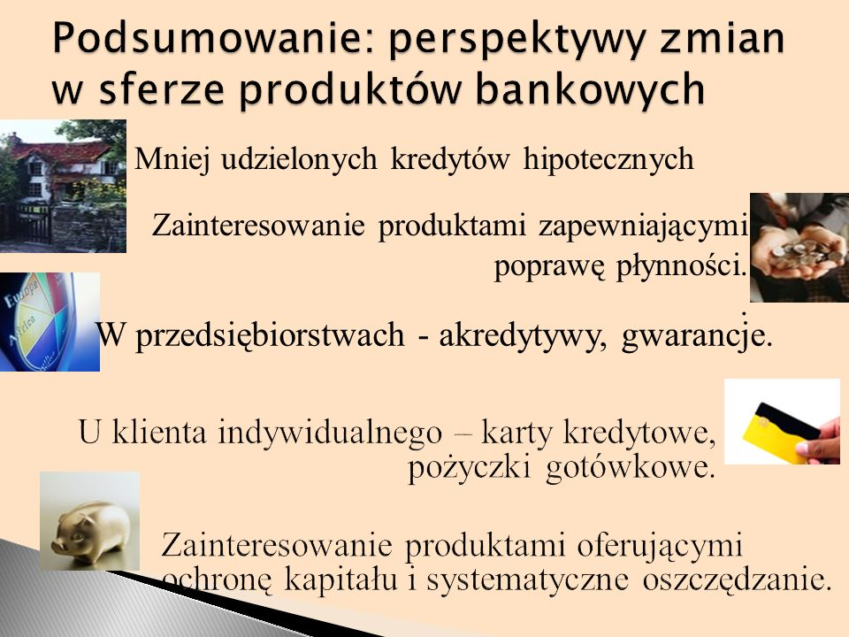 Podsumowanie: perspektywy zmian w sferze produktów bankowych