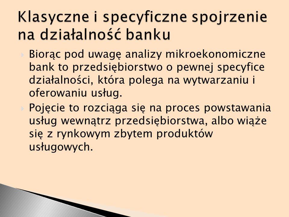 Klasyczne i specyficzne spojrzenie na działalność banku