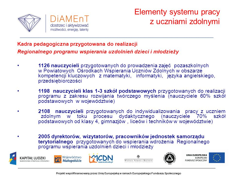 Elementy systemu pracy z uczniami zdolnymi