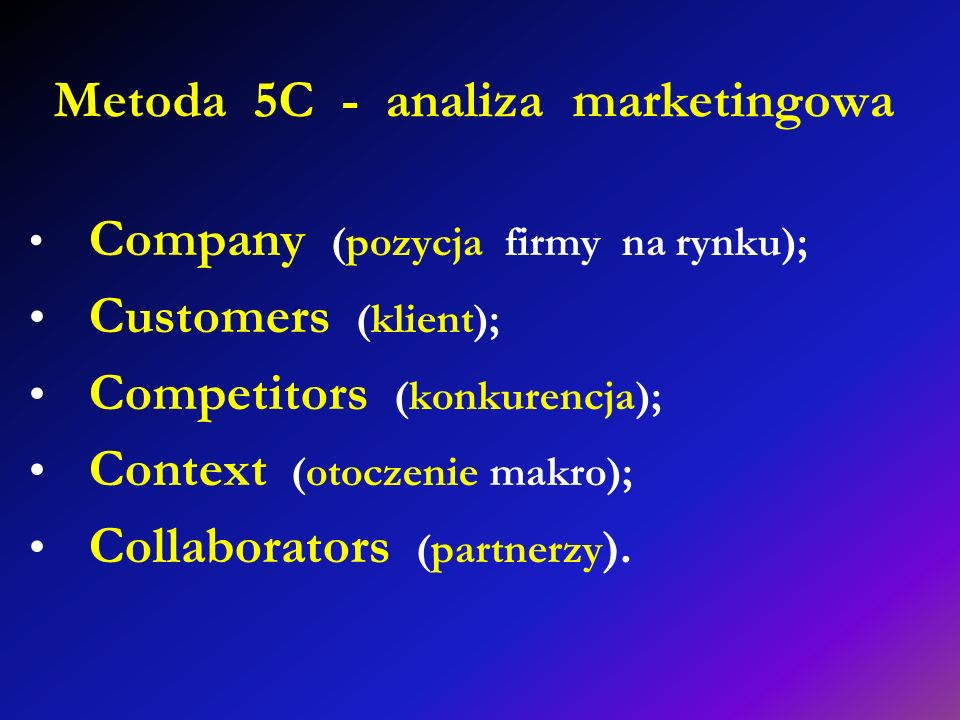 Metoda 5C - analiza marketingowa