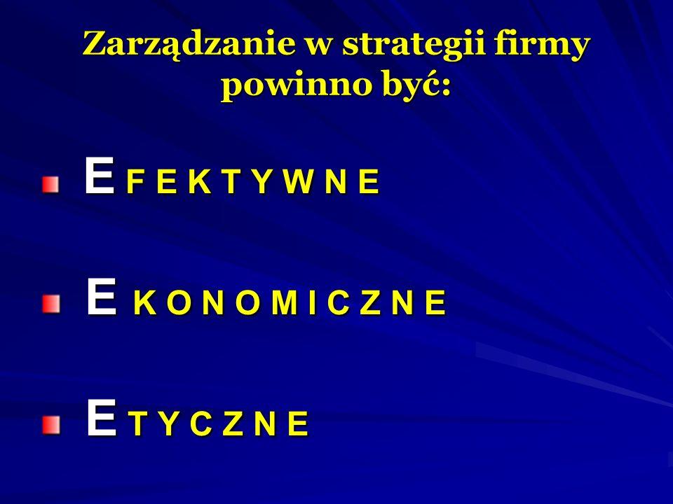 Zarządzanie w strategii firmy powinno być: