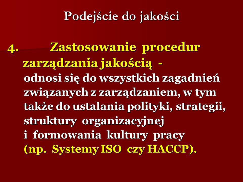 Podejście do jakości 4. Zastosowanie procedur zarządzania jakością -