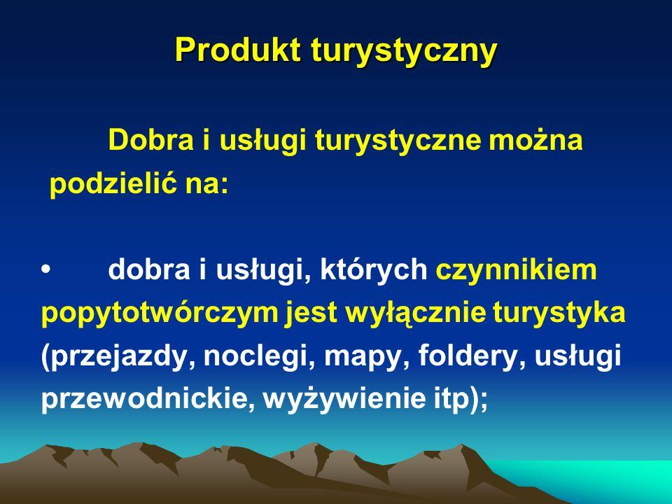 Produkt turystyczny Dobra i usługi turystyczne można podzielić na: