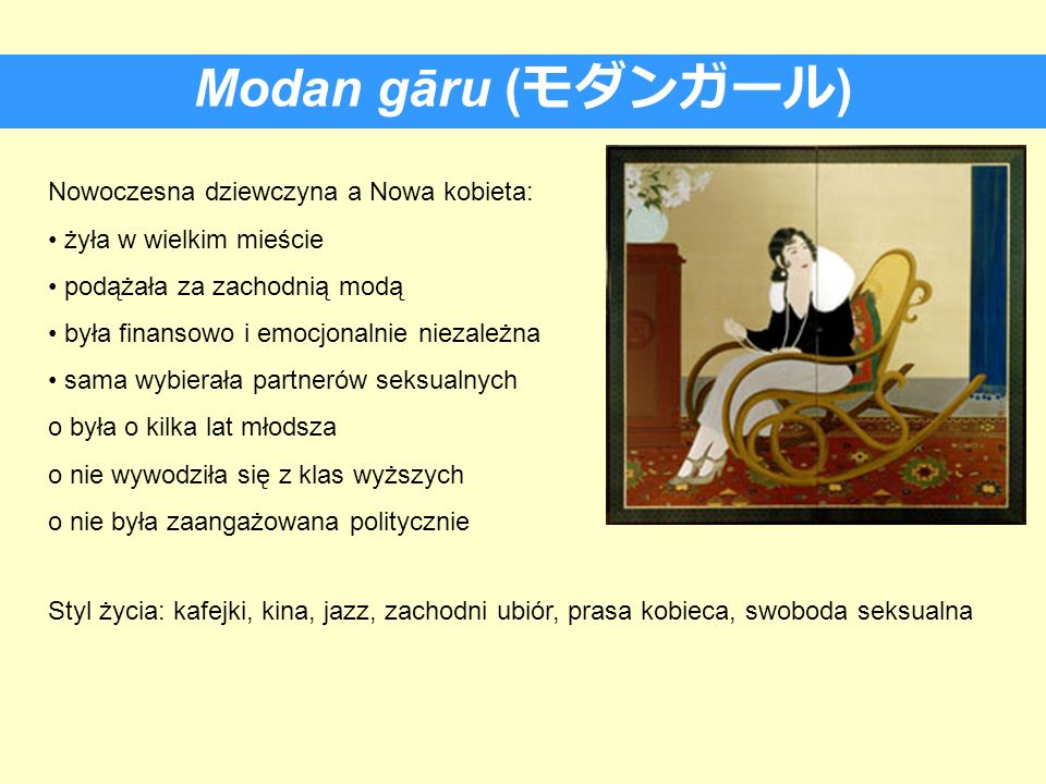 Modan gāru (モダンガール) Nowoczesna dziewczyna a Nowa kobieta: