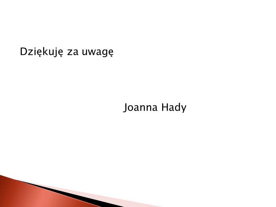 Dziękuję za uwagę Joanna Hady