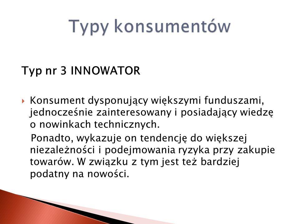 Typy konsumentów Typ nr 3 INNOWATOR