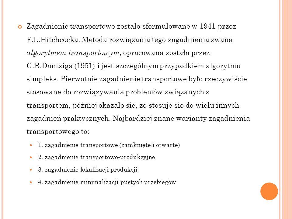 Zagadnienie transportowe zostało sformułowane w 1941 przez F. L