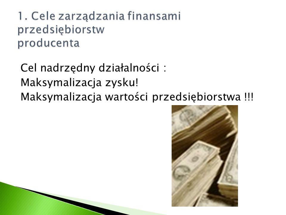 1. Cele zarządzania finansami przedsiębiorstw producenta