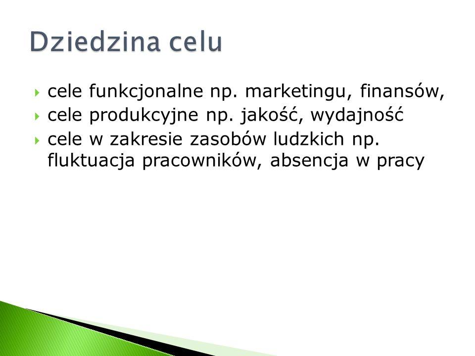 Dziedzina celu cele funkcjonalne np. marketingu, finansów,