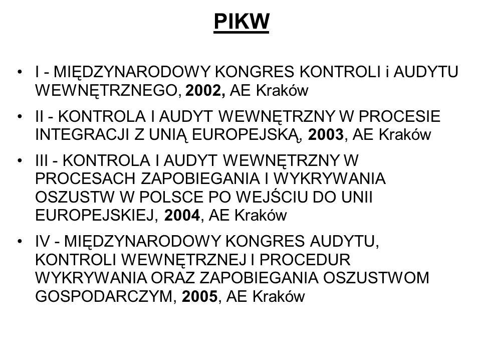 PIKW I - MIĘDZYNARODOWY KONGRES KONTROLI i AUDYTU WEWNĘTRZNEGO, 2002, AE Kraków.