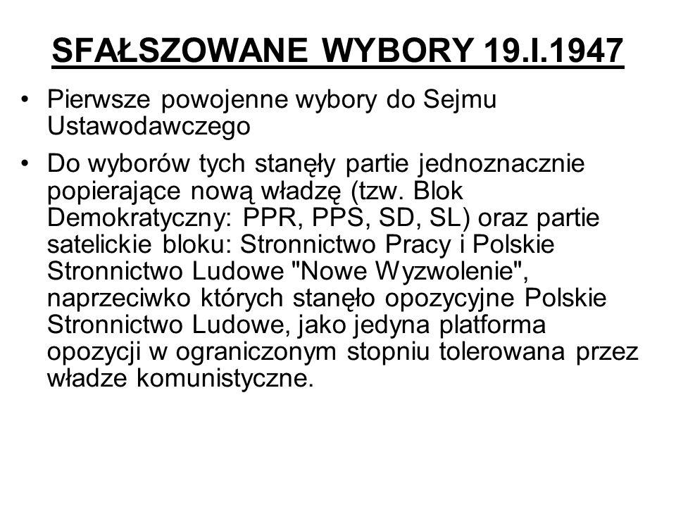 SFAŁSZOWANE WYBORY 19.I.1947 Pierwsze powojenne wybory do Sejmu Ustawodawczego.