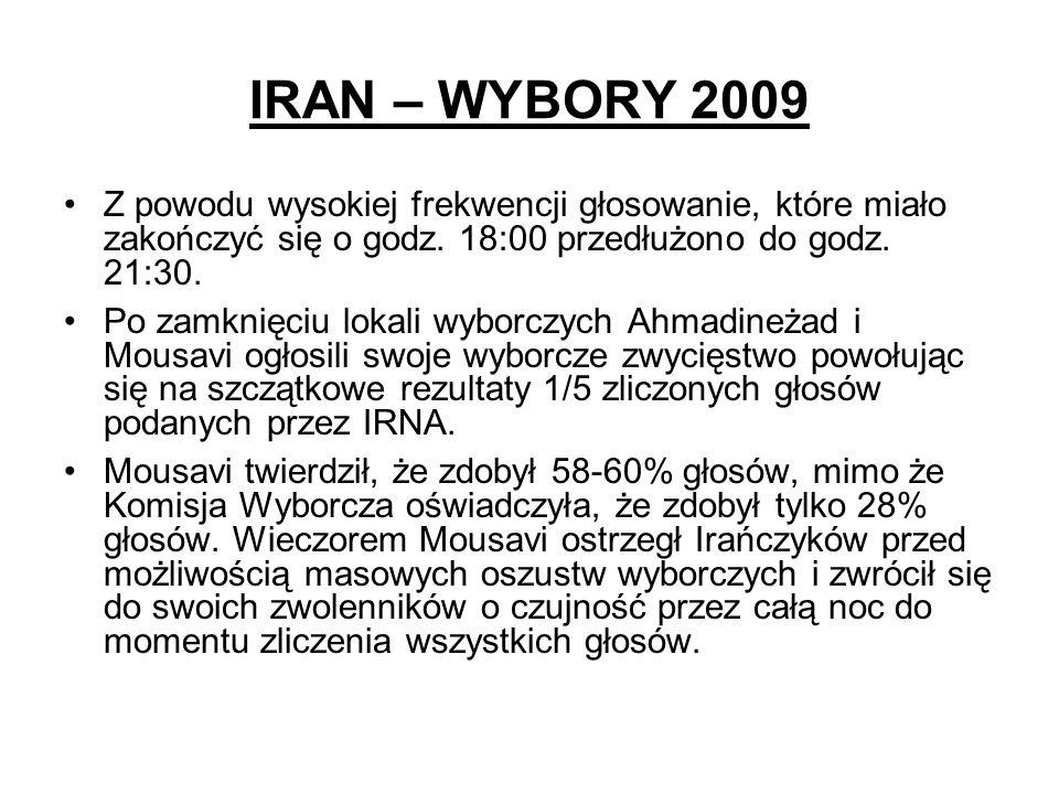 IRAN – WYBORY 2009 Z powodu wysokiej frekwencji głosowanie, które miało zakończyć się o godz. 18:00 przedłużono do godz. 21:30.
