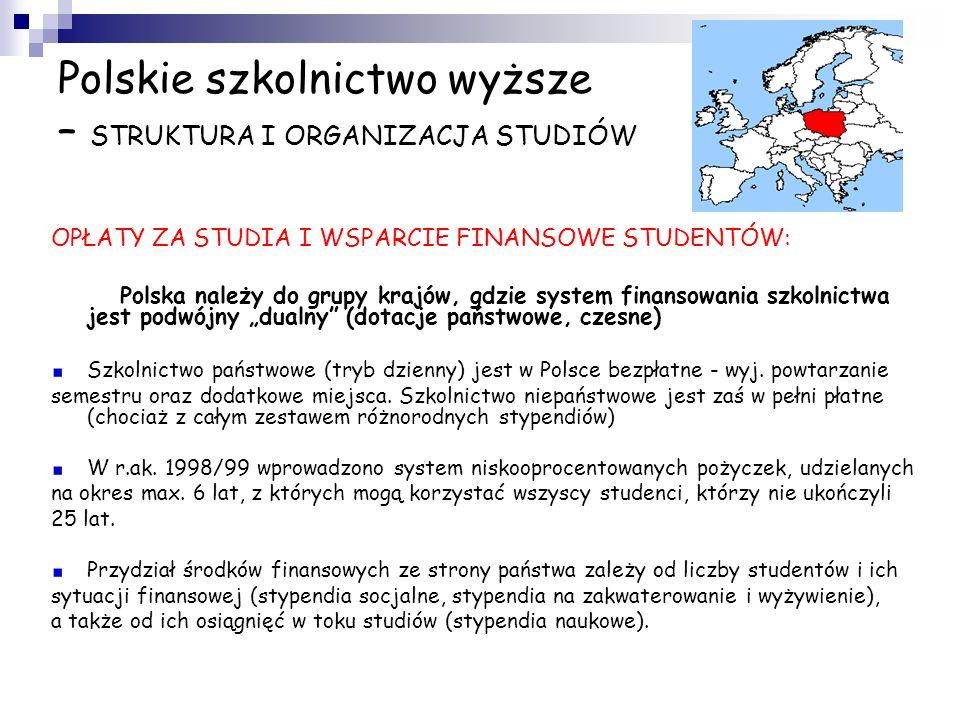 Polskie szkolnictwo wyższe – STRUKTURA I ORGANIZACJA STUDIÓW