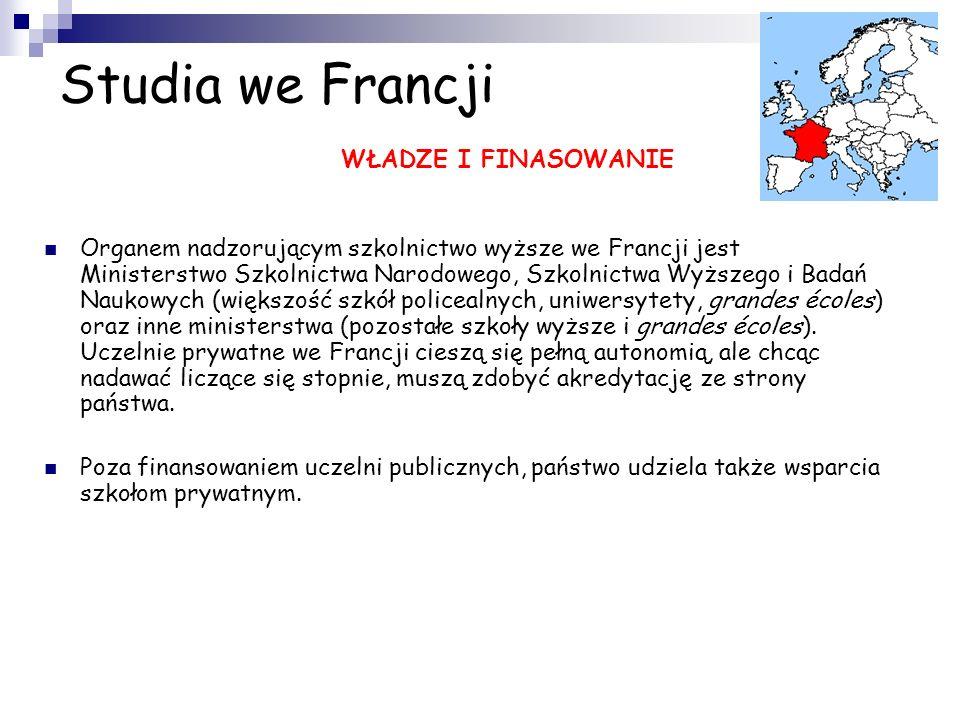 Studia we Francji WŁADZE I FINASOWANIE