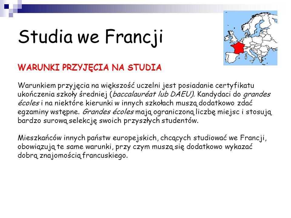 Studia we Francji WARUNKI PRZYJĘCIA NA STUDIA