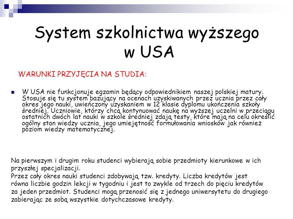 System szkolnictwa wyższego w USA