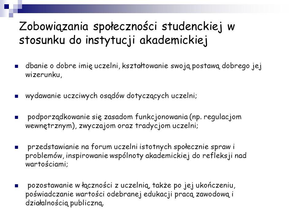 Zobowiązania społeczności studenckiej w stosunku do instytucji akademickiej