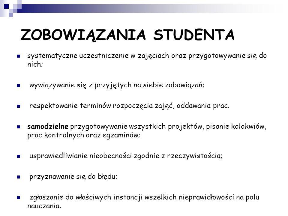 ZOBOWIĄZANIA STUDENTA