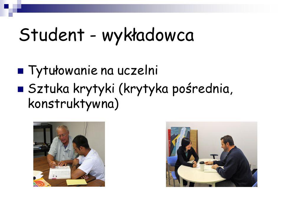 Student - wykładowca Tytułowanie na uczelni