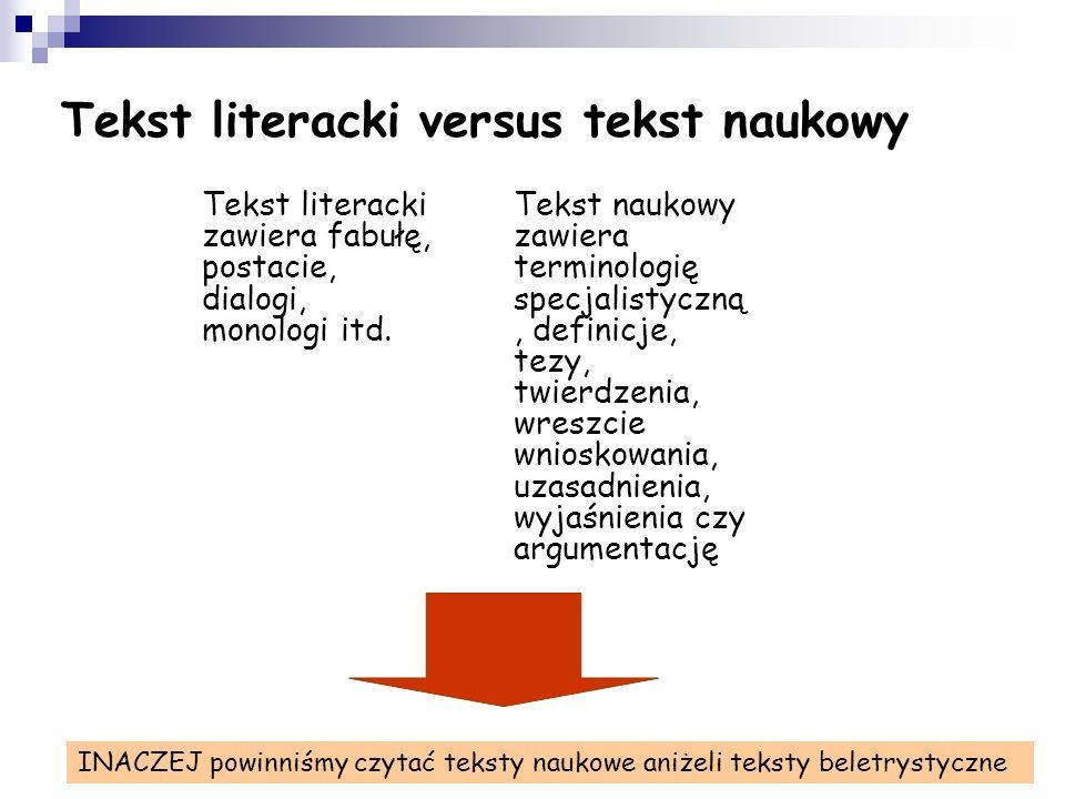 Tekst literacki versus tekst naukowy