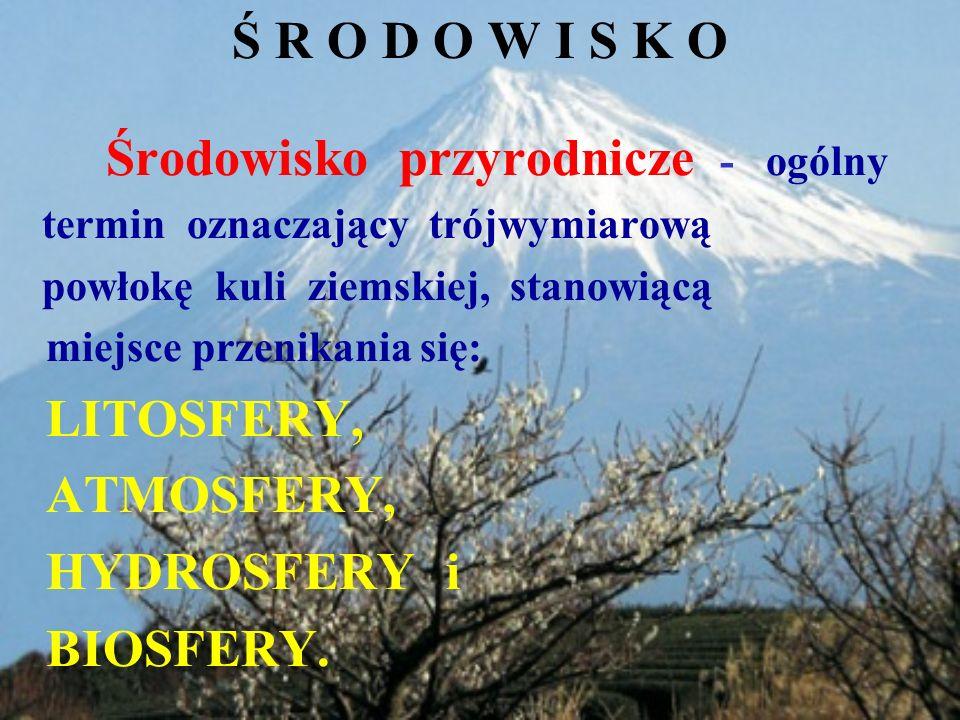 Ś R O D O W I S K O ATMOSFERY, HYDROSFERY i BIOSFERY.