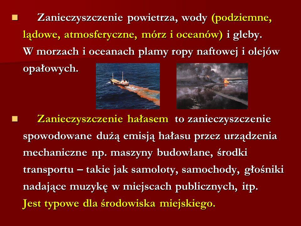 Zanieczyszczenie powietrza, wody (podziemne,